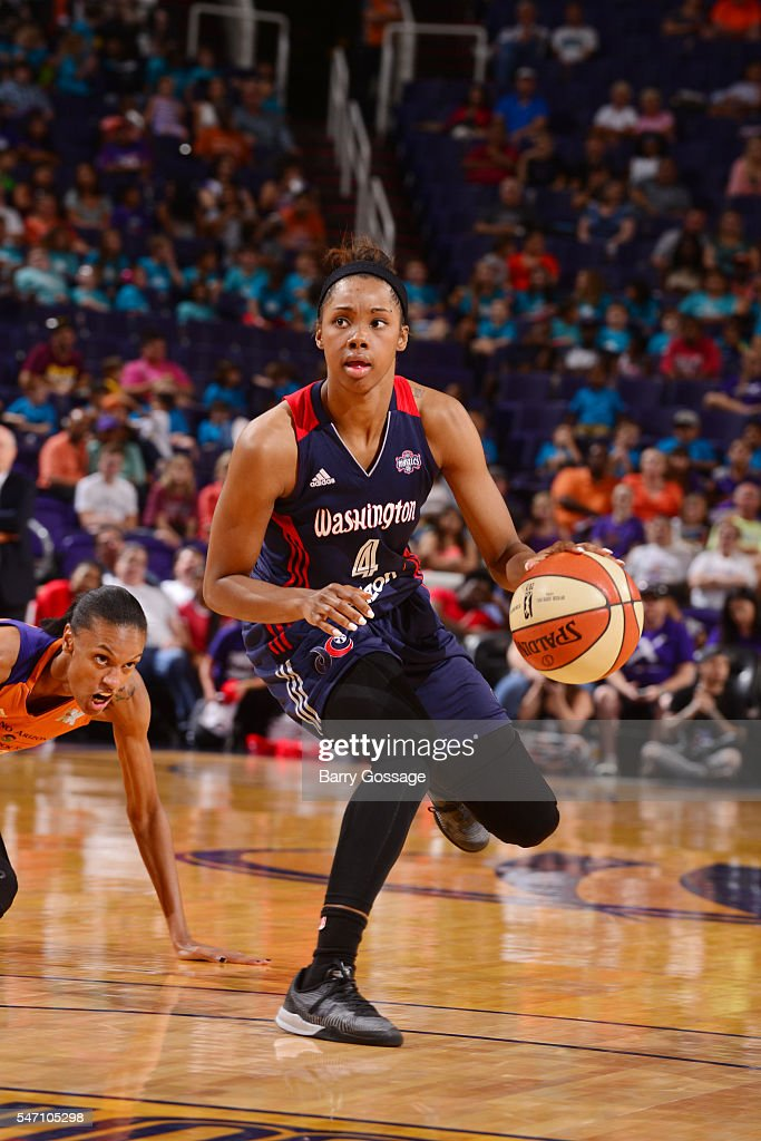 Tayler Hill of the Washington Mystics drives to the basket against the Phoenix Mercury on July 13 2016 at Talking Stick Resort Arena in Phoenix...