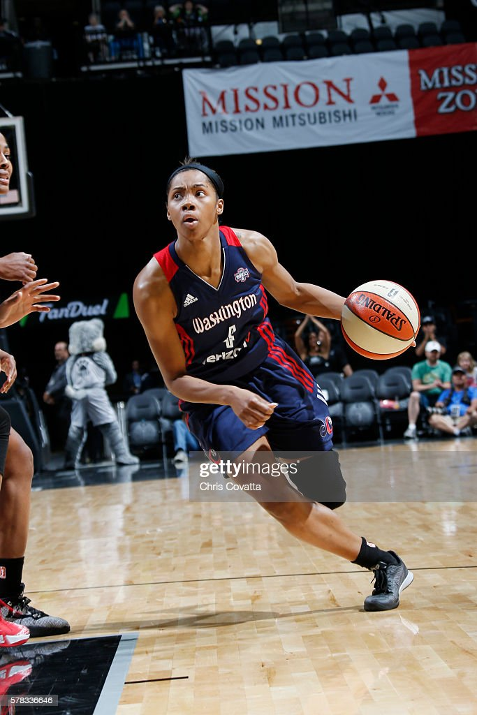 Tayler Hill of the Washington Mystics drives to the basket against the San Antonio Stars on July 6 2016 at ATT Center in San Antonio Texas NOTE TO...