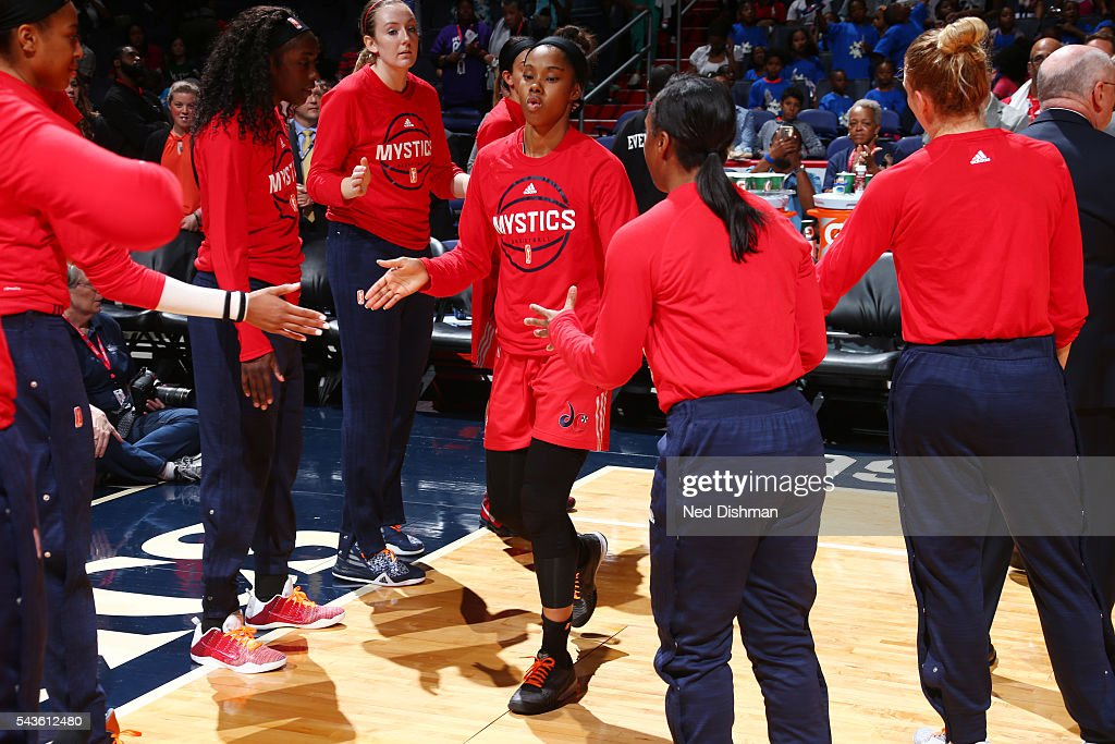 <a gi-track='captionPersonalityLinkClicked' href=/galleries/search?phrase=Tayler+Hill&family=editorial&specificpeople=5791962 ng-click='$event.stopPropagation()'>Tayler Hill</a> #4 of the Washington Mystics gets introduced before the game against the San Antonio Stars on June 29, 2016 at the Verizon Center in Washington, DC.