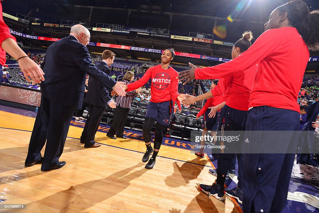 Tayler Hill of the Washington Mystics gets introduced before the game against the Phoenix Mercury on July 13 2016 at Talking Stick Resort Arena in...