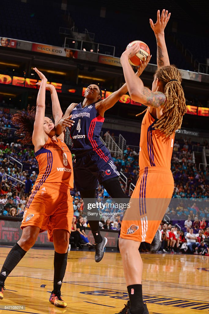 Tayler Hill of the Washington Mystics goes for a lay up against the Phoenix Mercury on July 13 2016 at Talking Stick Resort Arena in Phoenix Arizona...
