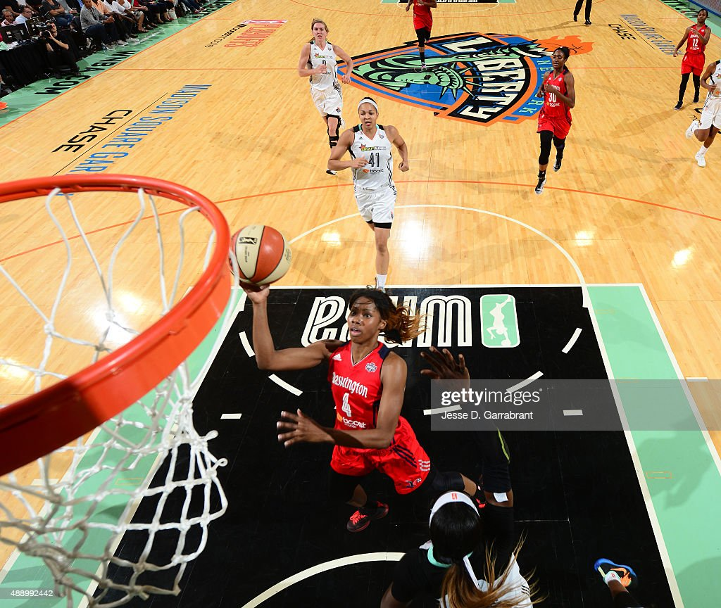 <a gi-track='captionPersonalityLinkClicked' href=/galleries/search?phrase=Tayler+Hill&family=editorial&specificpeople=5791962 ng-click='$event.stopPropagation()'>Tayler Hill</a> #4 of the Washington Mystics goes up for the layup against the New York Liberty during game One of the WNBA Semi-Finals at Madison Square Garden on September 18, 2015 in New York, New York