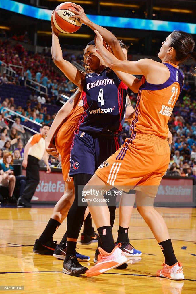 Tayler Hill of the Washington Mystics grabs the rebound against the Phoenix Mercury on July 13 2016 at Talking Stick Resort Arena in Phoenix Arizona...