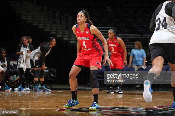 Tayler Hill of the Washington Mystics guards her position against the Minnesota Lynx during an Analytic Scrimmage at the Verizon Center on May 26...