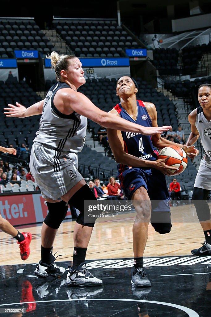 Tayler Hill of the Washington Mystics handles the ball against Jayne AppelMarinelli of the San Antonio Stars on July 6 2016 at ATT Center in San...