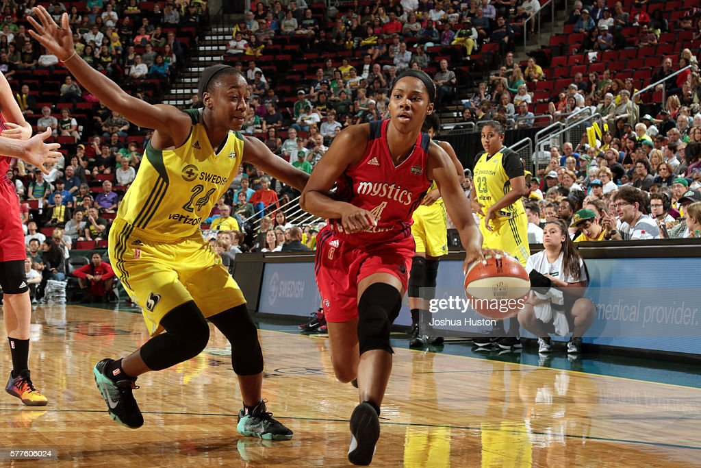 Tayler Hill of the Washington Mystics handles the ball against Jewell Loyd of the Seattle Storm on July 15 at Key Arena in Seattle Washington NOTE TO...