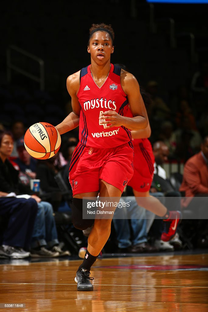 Tayler Hill of the Washington Mystics handles the ball against the Dallas Wings on May 18 2016 at the Verizon Center in Washington DC NOTE TO USER...