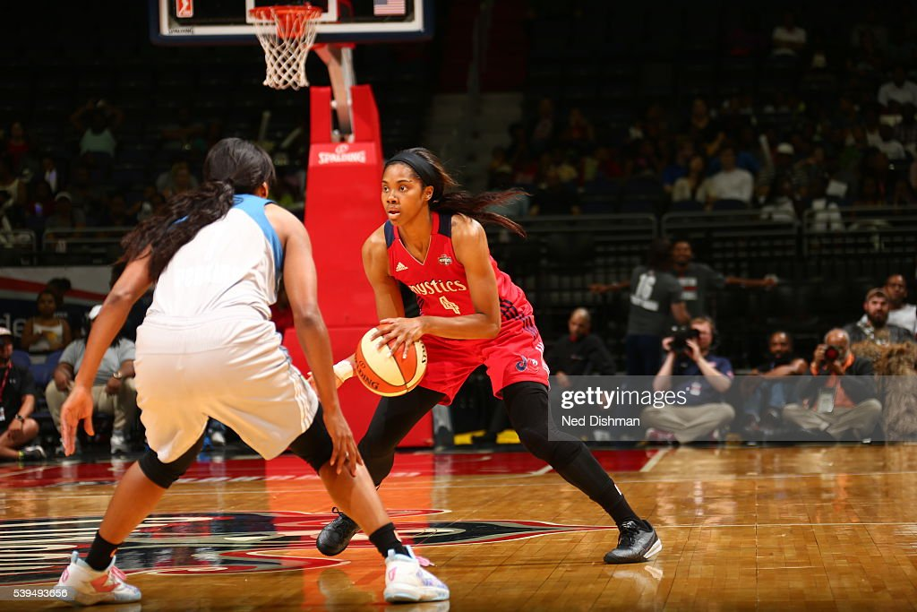Tayler Hill of the Washington Mystics handles the ball against the Minnesota Lynx on June 11 2016 at Verizon Center in Washington DC NOTE TO USER...