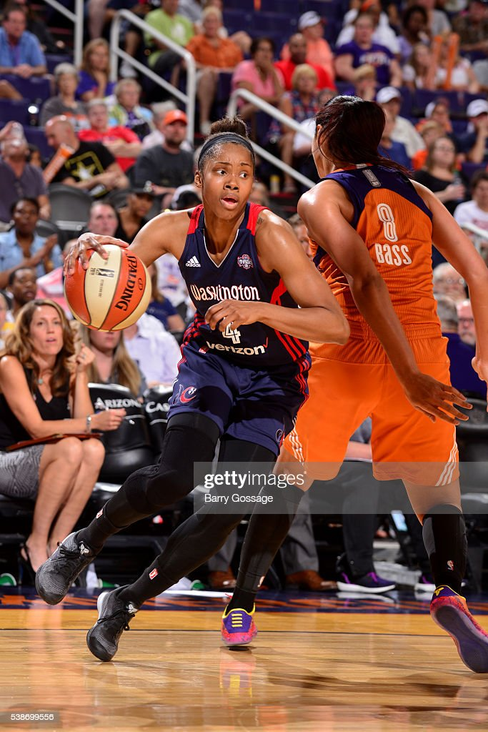 Tayler Hill of the Washington Mystics handles the ball during the game against the Phoenix Mercury on May 29 2016 at Talking Stick Resort Arena in...