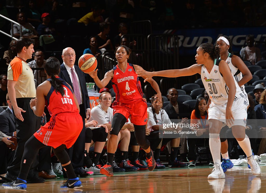 Tayler Hill of the Washington Mystics passes the ball against the New York Liberty during game One of the WNBA SemiFinals at Madison Square Garden on...
