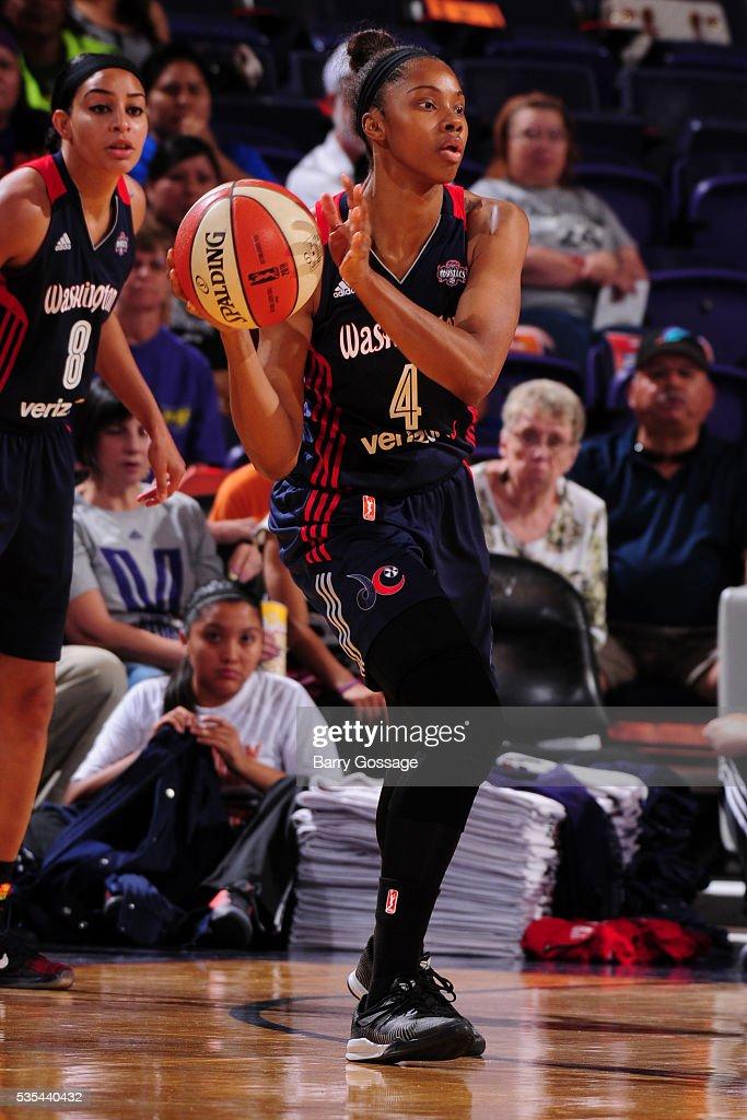 Tayler Hill of the Washington Mystics passes the ball against the Phoenix Mercury on May 29 2016 at Talking Stick Resort Arena in Phoenix Arizona...