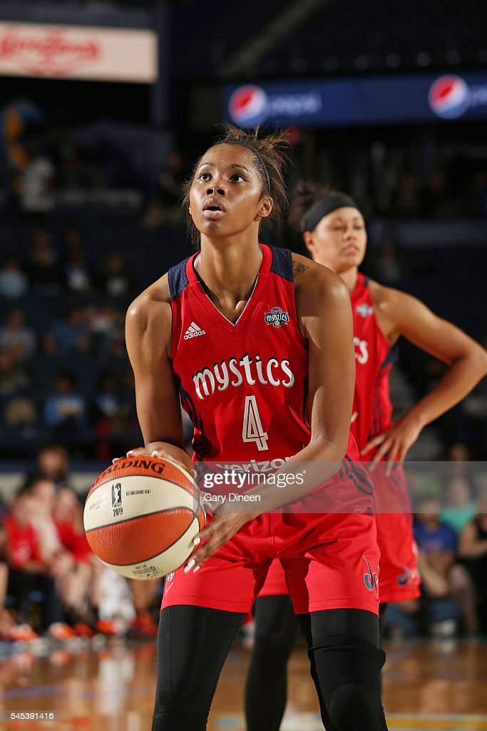 Tayler Hill of the Washington Mystics prepares to shoot a free throw against the Chicago Sky on July 1 2016 at Allstate Arena in Rosemont IL NOTE TO...