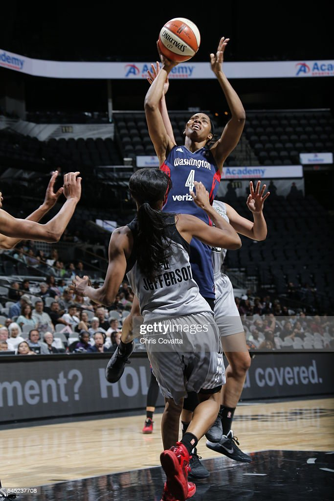 Tayler Hill of the Washington Mystics shoots against the San Antonio Stars during the game on July 6 2016 at ATT Center in San Antonio Texas NOTE TO...