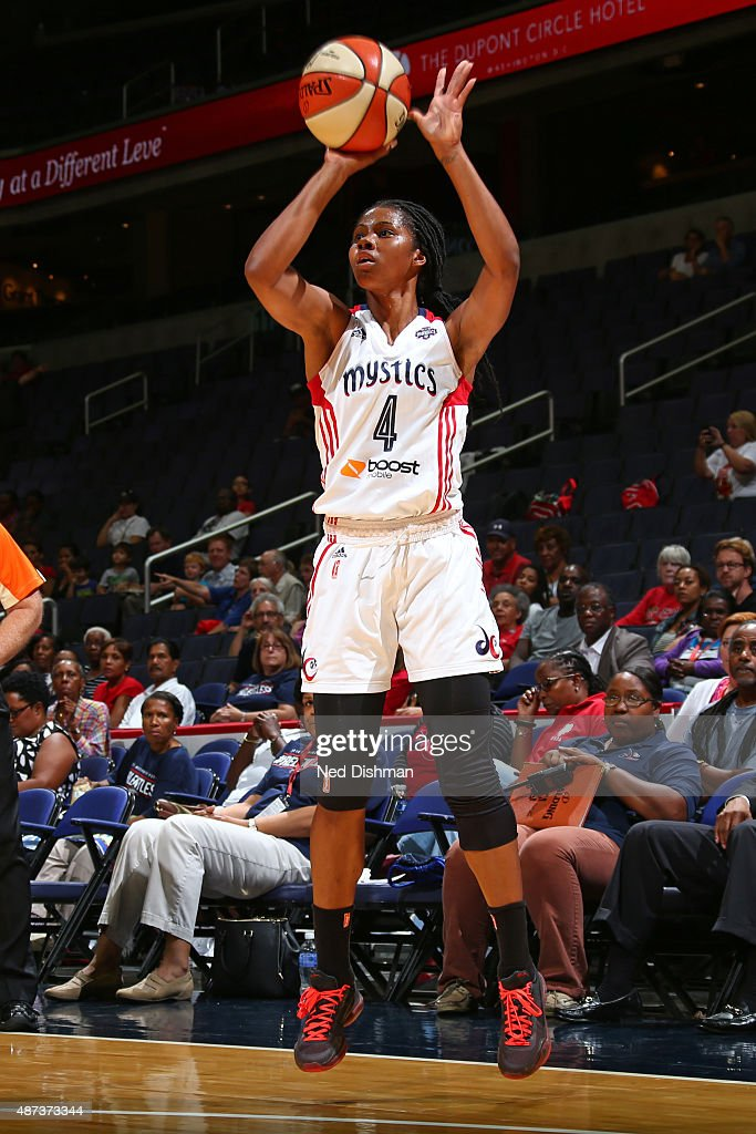 Tayler Hill of the Washington Mystics shoots the ball against the Indiana Fever on September 8 2015 at the Verizon Center in Washington DC NOTE TO...