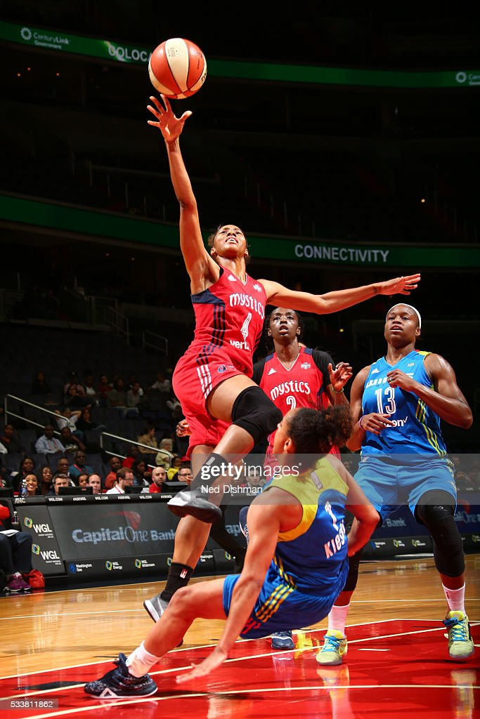 Tayler Hill #4 of the Washington Mystics shoots the ball against the Dallas Wings on May 18, 2016 at the Verizon Center in Washington, DC.