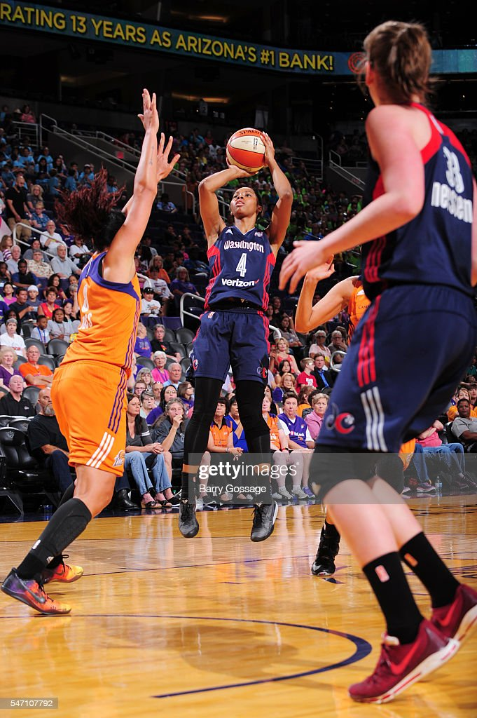 Tayler Hill of the Washington Mystics shoots the ball against the Phoenix Mercury on July 13 2016 at Talking Stick Resort Arena in Phoenix Arizona...