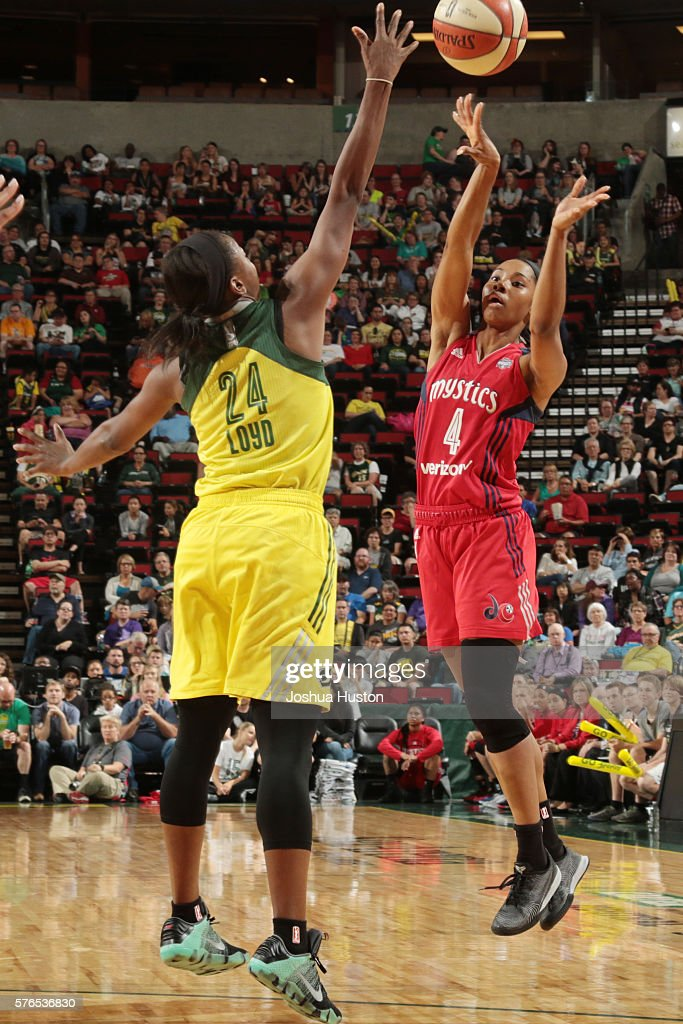 Tayler Hill of the Washington Mystics shoots the ball against the Seattle Storm on July 15 at Key Arena in Seattle Washington NOTE TO USER User...