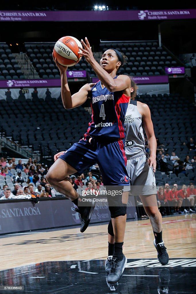 Tayler Hill of the Washington Mystics shoots the ball against the San Antonio Stars on July 6 2016 at ATT Center in San Antonio Texas NOTE TO USER...
