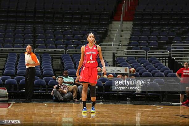 Tayler Hill of the Washington Mystics stands on the court during a game against the Minnesota Lynx during an Analytic Scrimmage at the Verizon Center...