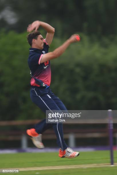 Tayler Young of England runs into bowl during the INAS Learning Disability TriSeries Trophy Final match between England and South Africa on July 21...