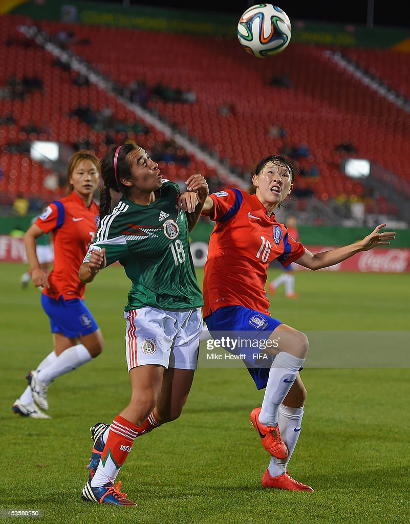 Taylor Alvarado of Mexico challenges Ha Eunhye of Korea Republic during the FIFA U-20 Women's World Cup Canada 2014 Group D match between Korea Republic and Mexico at the National Soccer Stadium on August 13, 2014 in Toronto, Canada.