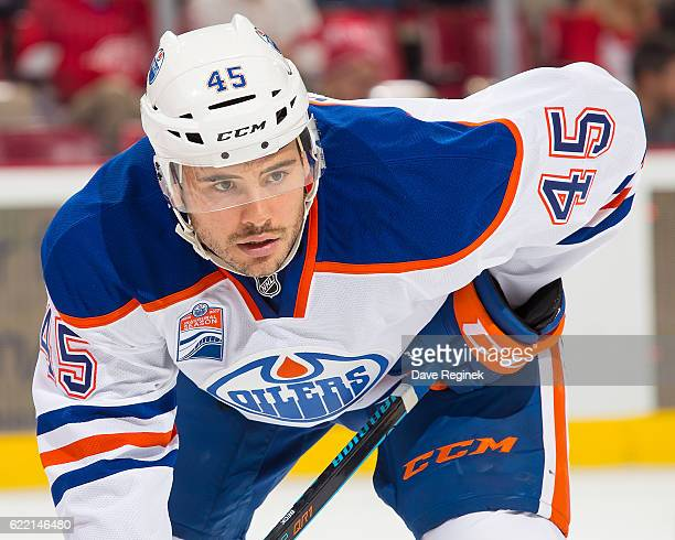 Taylor Beck of the Edmonton Oilers gets set for the faceoff during an NHL game against the Detroit Red Wings at Joe Louis Arena on November 6 2016 in...