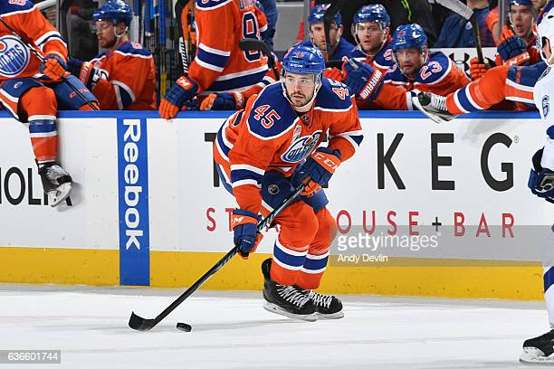 Taylor Beck of the Edmonton Oilers skates during the game against the Tampa Bay Lightning on December 17 2016 at Rogers Place in Edmonton Alberta...