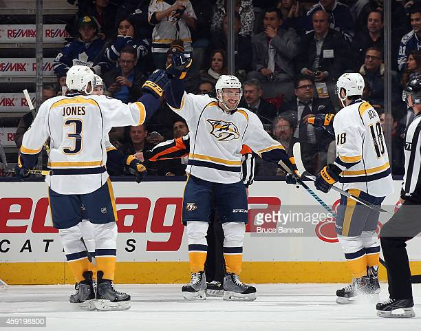 Taylor Beck of the Nashville Predators celebrates his second goal of the first period at 1649 on the powerplay against the Toronto Maple Leafs and is...