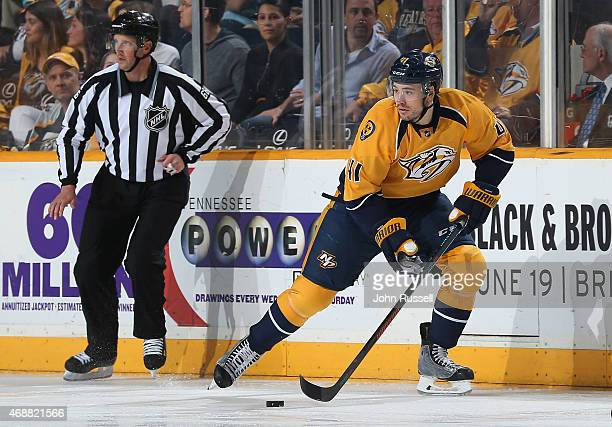 Taylor Beck of the Nashville Predators skates against the Dallas Stars during an NHL game at Bridgestone Arena on April 4 2015 in Nashville Tennessee