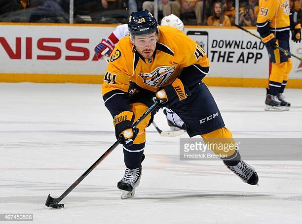 Taylor Beck of the Nashville Predators skates against the Montreal Canadiens during the first period at Bridgestone Arena on March 24 2015 in...