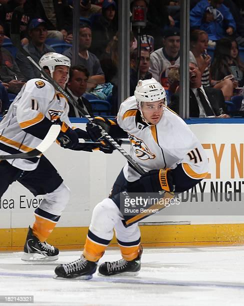 Taylor Beck of the Nashville Predators skates against the New York Islanders during a preseason game at Nassau Veterans Memorial Coliseum on...