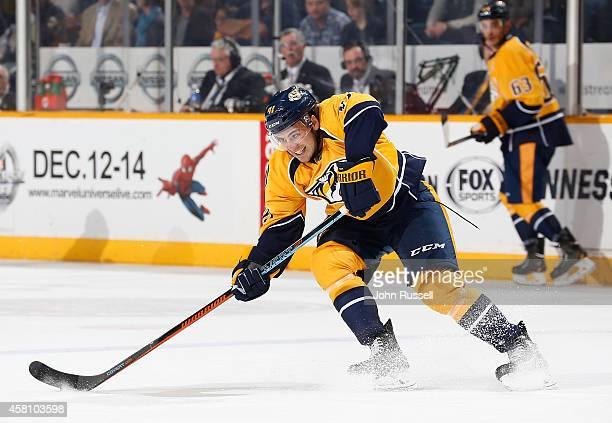 Taylor Beck of the Nashville Predators skates against the Pittsburgh Penguins at Bridgestone Arena on October 25 2014 in Nashville Tennessee