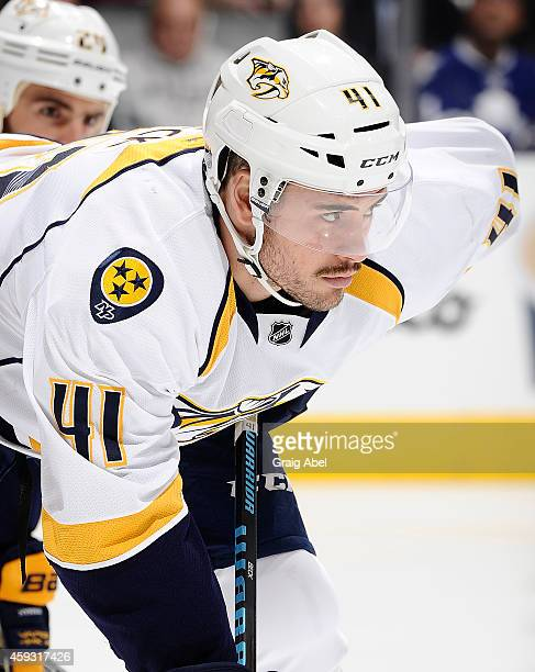 Taylor Beck of the Nashville Predators waits for a faceoff against the Toronto Maple Leafs during NHL game action November 18 2014 at the Air Canada...