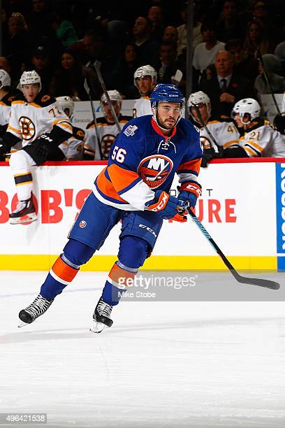 Taylor Beck of the New York Islanders skates against the Boston Bruins at the Barclays Center on November 8 2015 in Brooklyn borough of New York City...