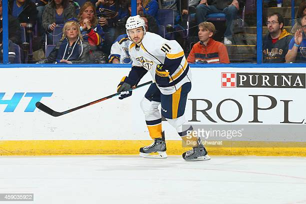 Taylor Beck the the Nashville Predators skates against the St Louis Blues at the Scottrade Center on November 8 2014 in St Louis Missouri