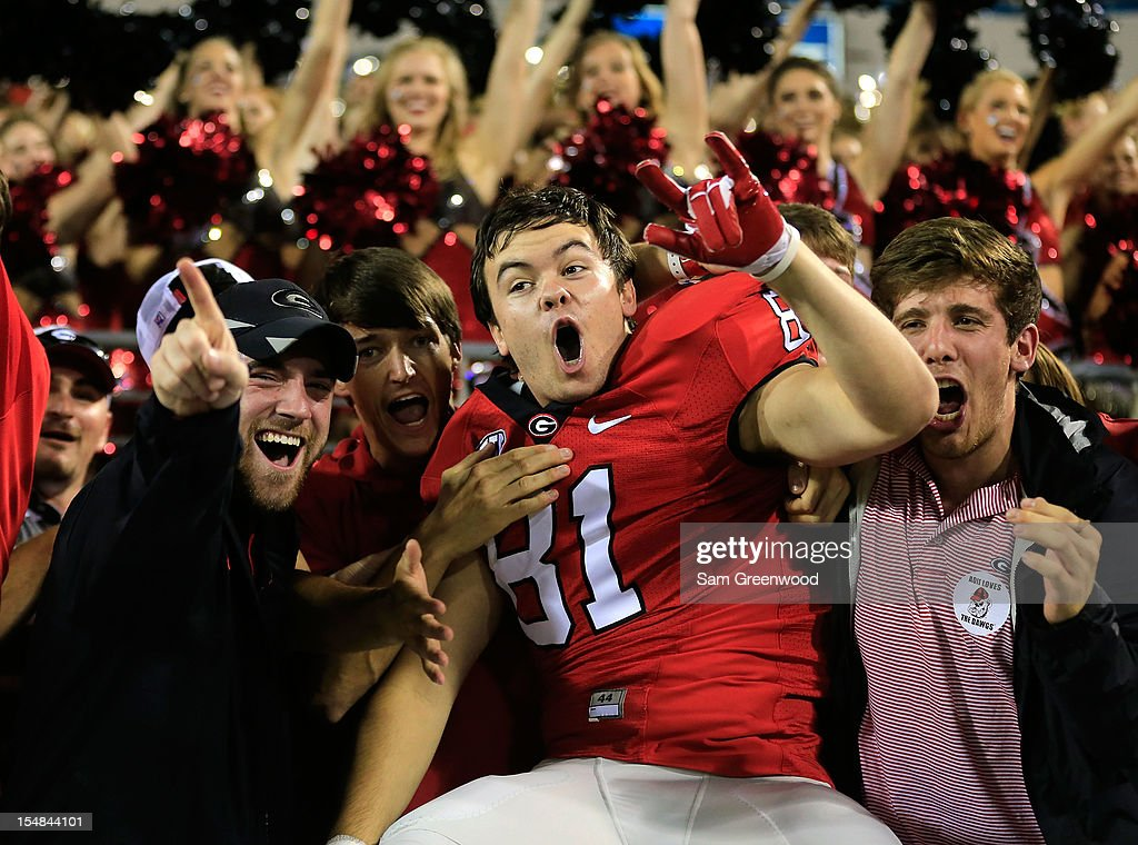 Taylor Bradberry #81 of the Georgia Bulldogs celebrates with fans following the game against the Florida Gators at EverBank Field on October 27, 2012 in Jacksonville, Florida.