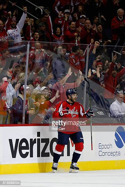 Taylor Chorney of the Washington Capitals celebrates after scoring a first period goal against the Toronto Maple Leafs at Verizon Center on March 2...