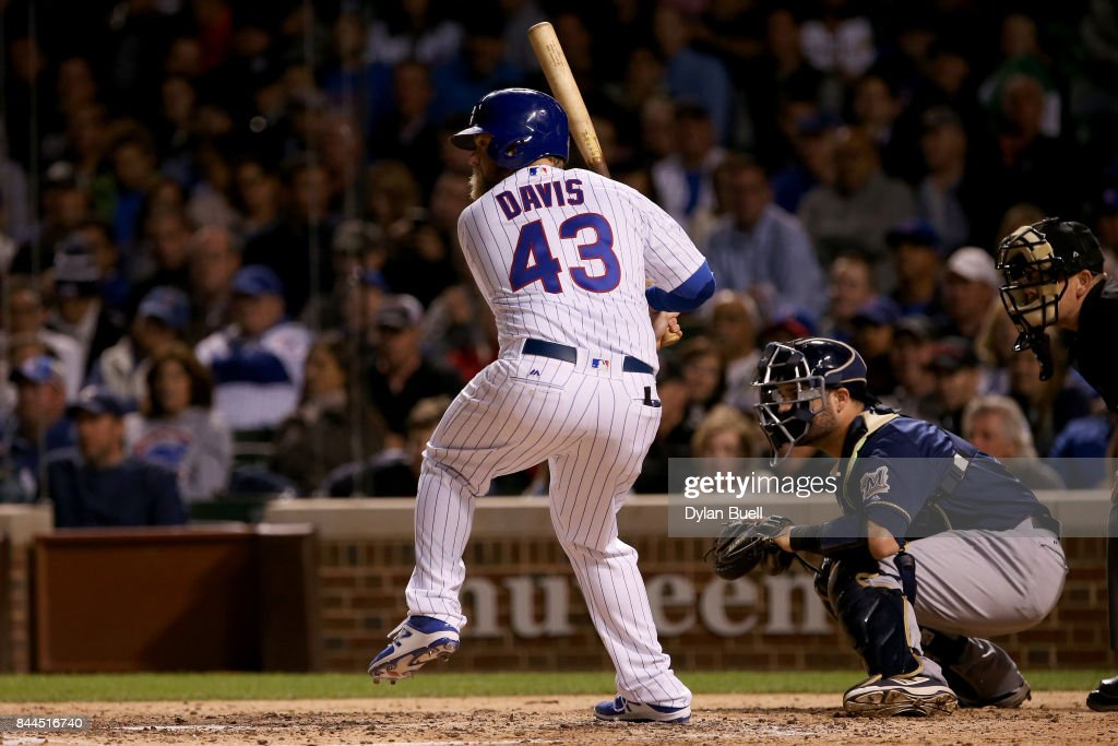 Taylor Davis #43 of the Chicago Cubs makes his Major League Baseball debut during an at bat in the seventh inning against the Milwaukee Brewers at Wrigley Field on September 8, 2017 in Chicago, Illinois.