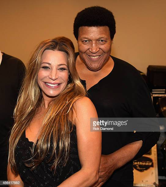 Taylor Dayne and Chubby Checker pose backstage at the Paradise Artists Party during Day 4 of the IEBA 2014 Conference on September 30 2014 in...