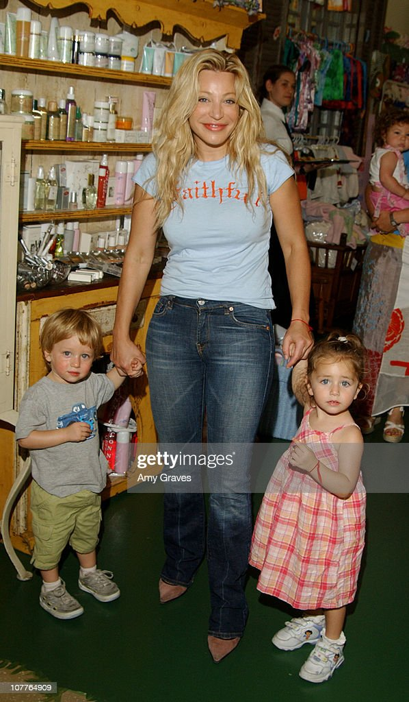 Taylor Dayne with son Levi and daughter Astaria during Connie Stevens Joely Fisher and Tricia Leigh Fisher Open Nana's Garden at Nana's Garden in...
