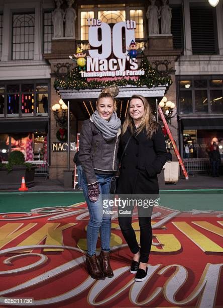 Taylor Dye and Maddie Marlow of Maddie Tae attend the 90th anniversary Macy's Thanksgiving day parade rehearsals at Macy's Herald Square on November...