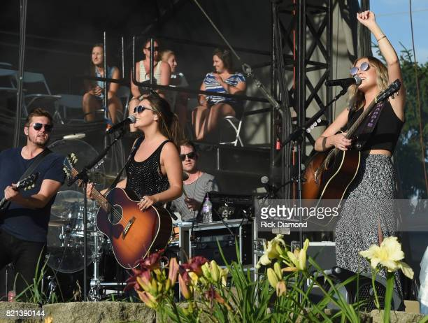 Taylor Dye and Maddie Marlow of Maddie Tae perform during Country Thunder Day 4 on July 23 2017 in Twin Lakes Wisconsin