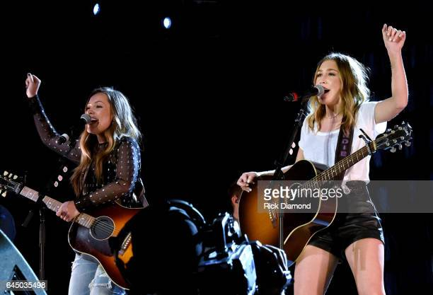 Taylor Dye and Madison Marlow of Maddie Tae perform onstage at Lunch Performance Sponsored by BMLG during CRS 2017 Day 3 on February 24 2017 in...