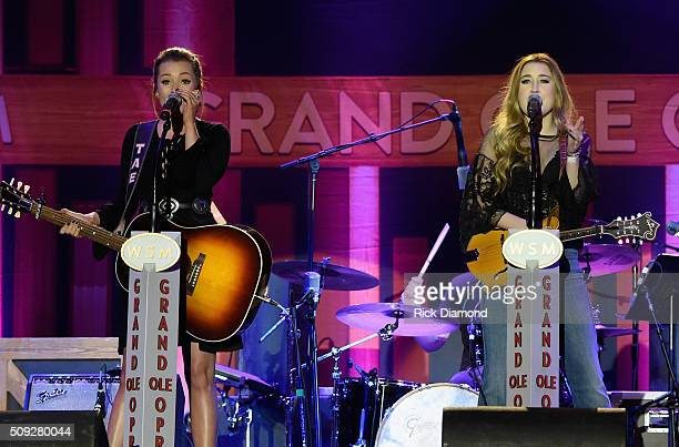 Taylor Dye and Madison Marlow perform during Grand Ole Opry at CRS Day 1 at Omni Hotel on February 8 2016 in Nashville Tennessee