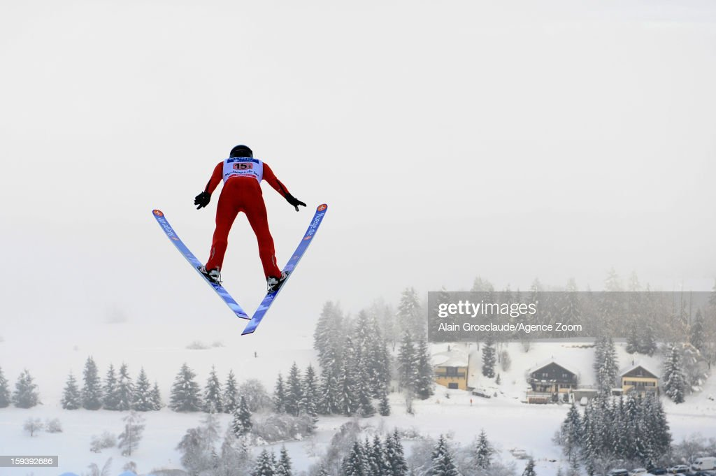 <a gi-track='captionPersonalityLinkClicked' href=/galleries/search?phrase=Taylor+Fletcher&family=editorial&specificpeople=2084207 ng-click='$event.stopPropagation()'>Taylor Fletcher</a> of the United States competes during the FIS Nordic Combined World Cup Team Sprint on January 13, 2013 in Chaux-Neuve, France.