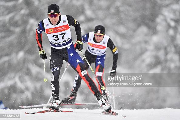 Taylor Fletcher of the USA competes during the FIS Nordic Combined World Cup Team Sprint on January 11 2015 in ChauxNeuve France