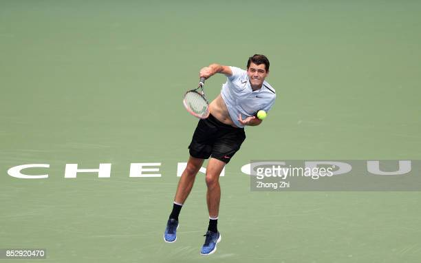 Taylor Fritz of the United States serves during the match against Marco Chiudinelli of Switzerland during Qualifying second round of 2017 ATP Chengdu...