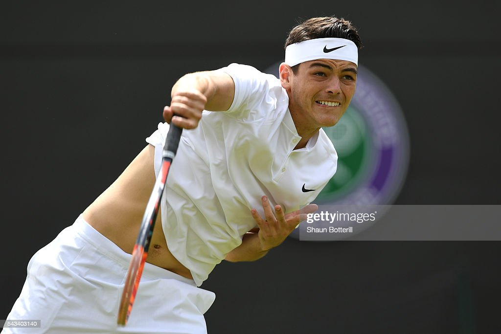 <a gi-track='captionPersonalityLinkClicked' href=/galleries/search?phrase=Taylor+Fritz&family=editorial&specificpeople=14747640 ng-click='$event.stopPropagation()'>Taylor Fritz</a> of The United States serves during the Men's Singles first round match against Stan Wawrinka of Switzerland on day two of the Wimbledon Lawn Tennis Championships at the All England Lawn Tennis and Croquet Club on June 28, 2016 in London, England.