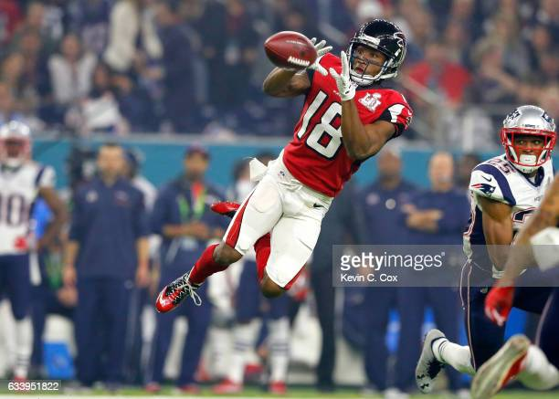 Taylor Gabriel of the Atlanta Falcons makes a catch during the third quarter against the New England Patriots during Super Bowl 51 at NRG Stadium on...