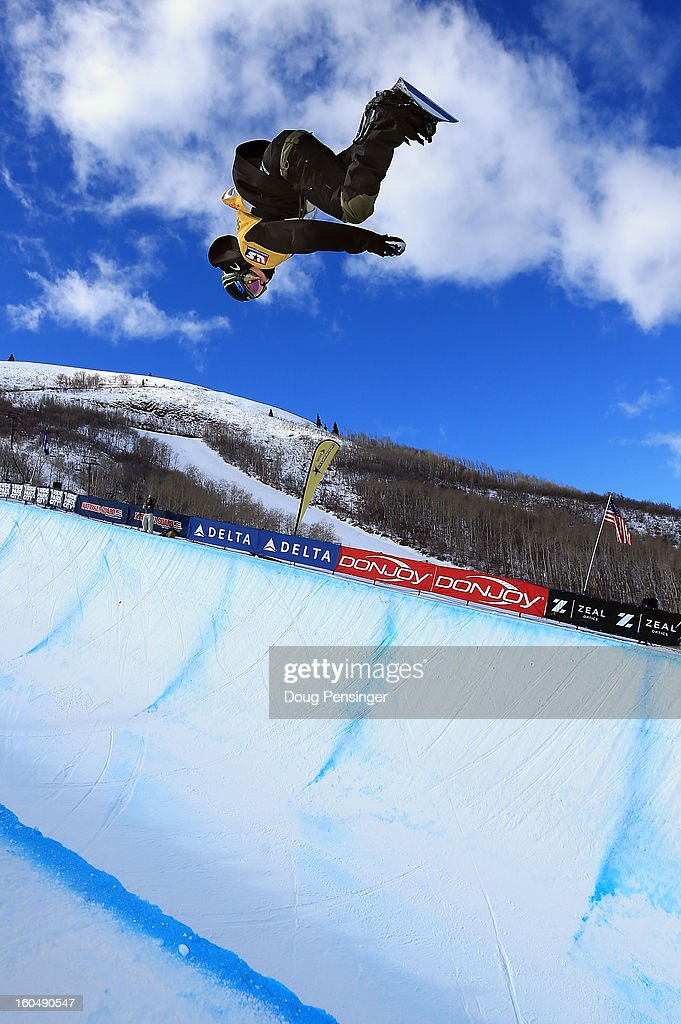 Taylor Gold competes in the FIS Snowboard Halfpipe World Cup Final at the Sprint U.S. Grand Prix at Park City Mountain on February 1, 2013 in Park City, Utah.